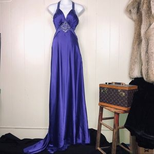 Purple crystal beaded sexy long gown w/ train 3/4T